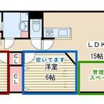 画像: 間取図                             - 新大阪駅から徒歩8分【2LDK】洋室ピカピカ6畳2部屋空いてます