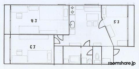シェアハウス ゲストハウス 間取図